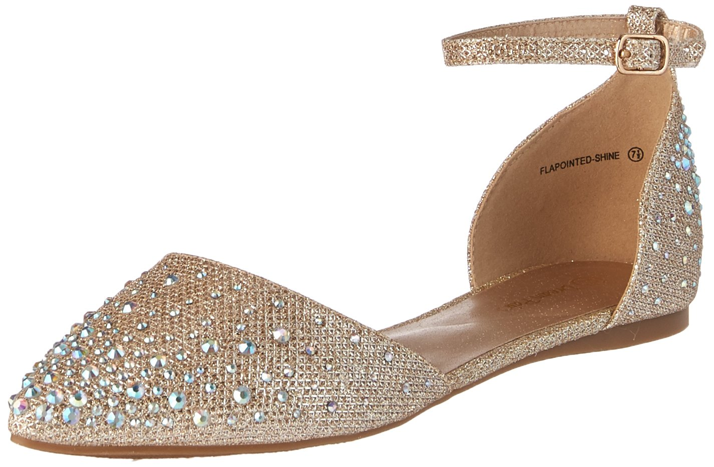 DREAM PAIRS Women's Flapointed-Shine Pump, Gold, 8 M US