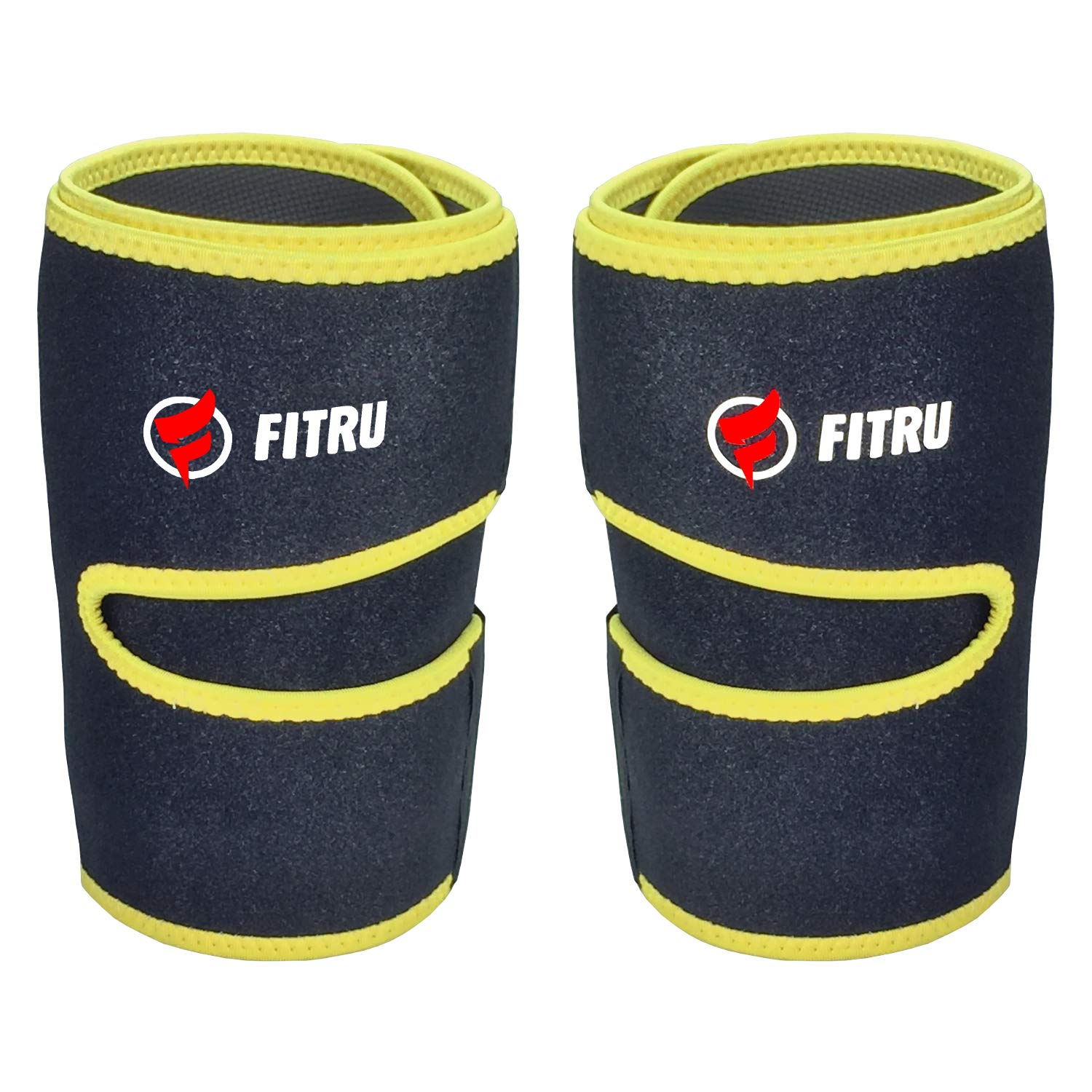 Fitru Premium Thigh Trimmers for Men & Women | Increase Sweating & Circulation | Like A Body Wrap Sauna Waist Trainer for Your Legs (Yellow, M: 31'' X 8'')
