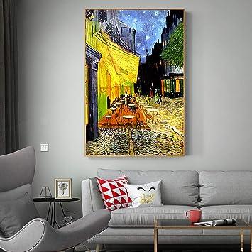 Van Gogh Café Terraza Análisis nocturno Pintura de lienzo ...