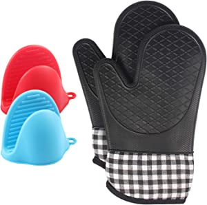 LVGADR Heat Resistant 500°F Silicone Shell Oven Mitt with 2 Mini Pinch Oven Mitts, Waterproof Non-Slip Flexible Oven Gloves with Soft Cotton Lining, Food Safe Baking Gloves for Cooking Barbecue(Black)