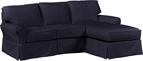 Stone Beam Carrigan Casual Sofa Chaise, 95 W, Navy