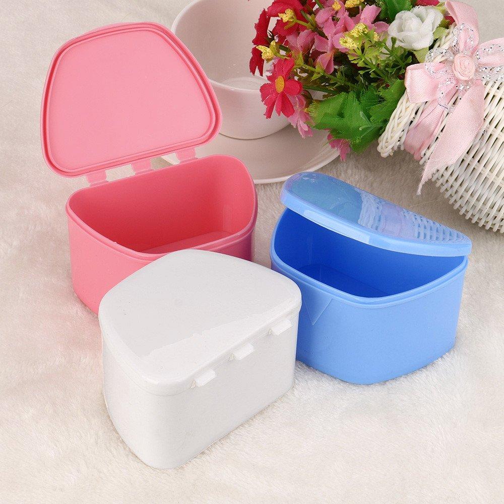Hohaski Denture Bath Appliance False Teeth Box Storage Case Rinsing Basket Professional Dental Supplies Color Random(White, Blue & Pink) by Hohaski (Image #2)