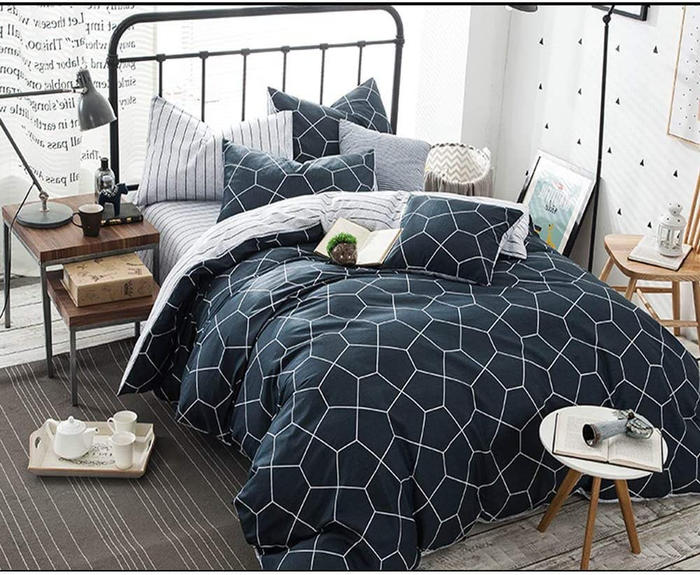 Twin Duvet Cover Set 68x90 Soft Geometric Diamond Pattern Teen Bedding Cover, Luxury Cool Lightweight Microfiber 2 pc Set with Zip, Ties - Best Modern Style Comforter Quilt Cover for Young, Navy Bl