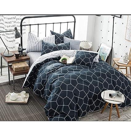 Twin Duvet Cover Set 68x90 Soft Geometric Diamond Pattern Teen Bedding Cover,  Luxury Cool Lightweight