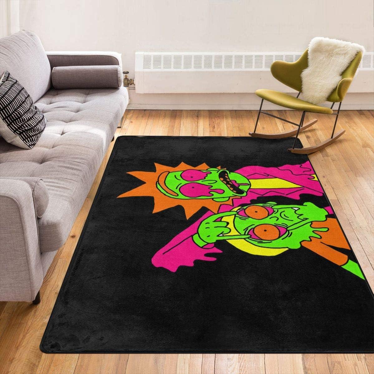 Zuzuzj Rick&Morty Home Decor Non-Slip Indoor Outdoor Floor Mat Large Area Rug Machine Washable Carpet Decor Living Room Dining Room Play Room Carpet 80 X 58 Inches