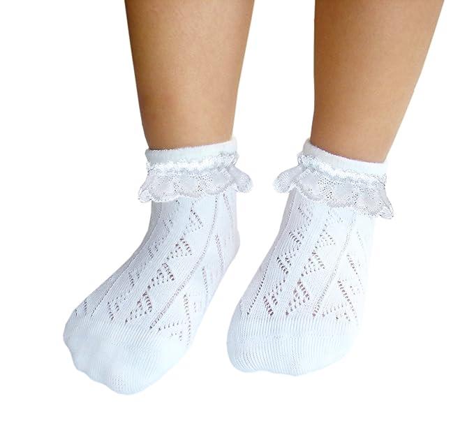 JHosiery Niñas calcetines sin costuras pointelle con encaje para pies sensibles (31-35,