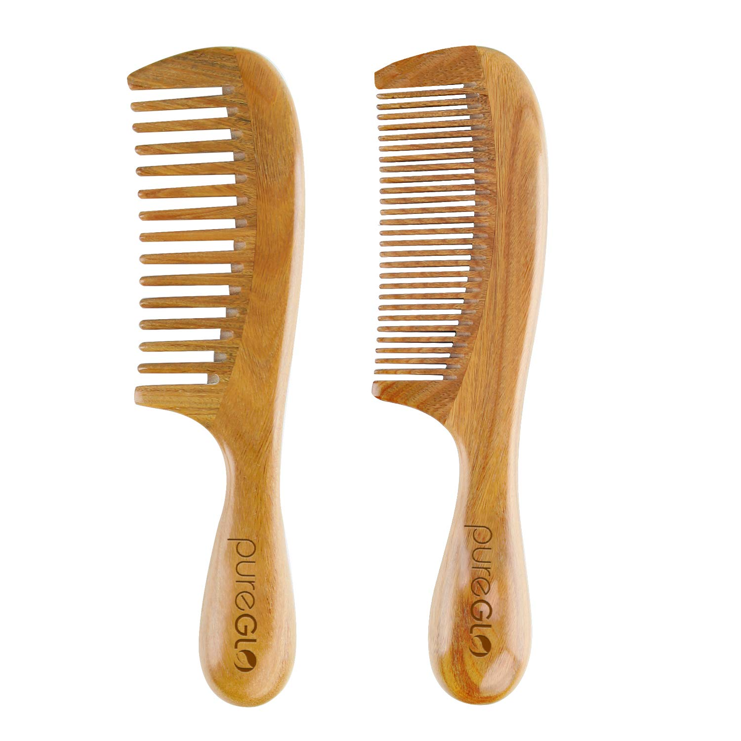 pureGLO Handmade Wooden Comb Set - Natural Green Sandalwood Anti-Static Fine & Wide Tooth Hair Combs for Men Women and Kids