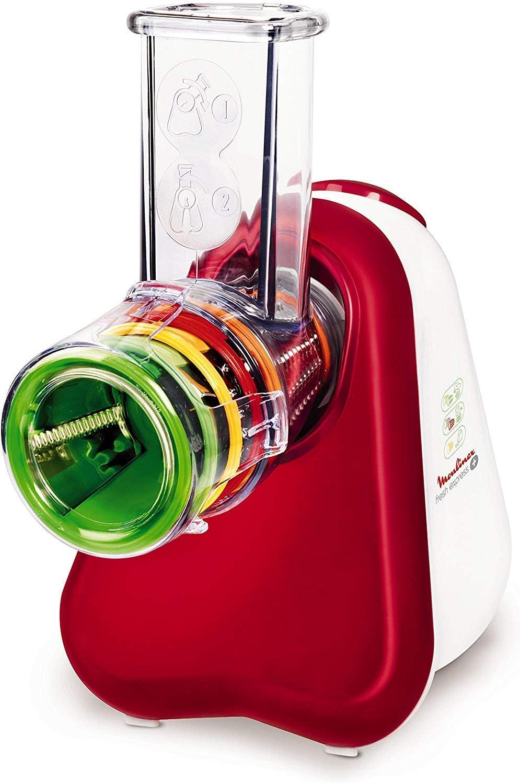 Moulinex Fresh Express Plus - Rallador, 5 funciones, 150 W, 1 L, 1 dB, metal, rojo/blanco