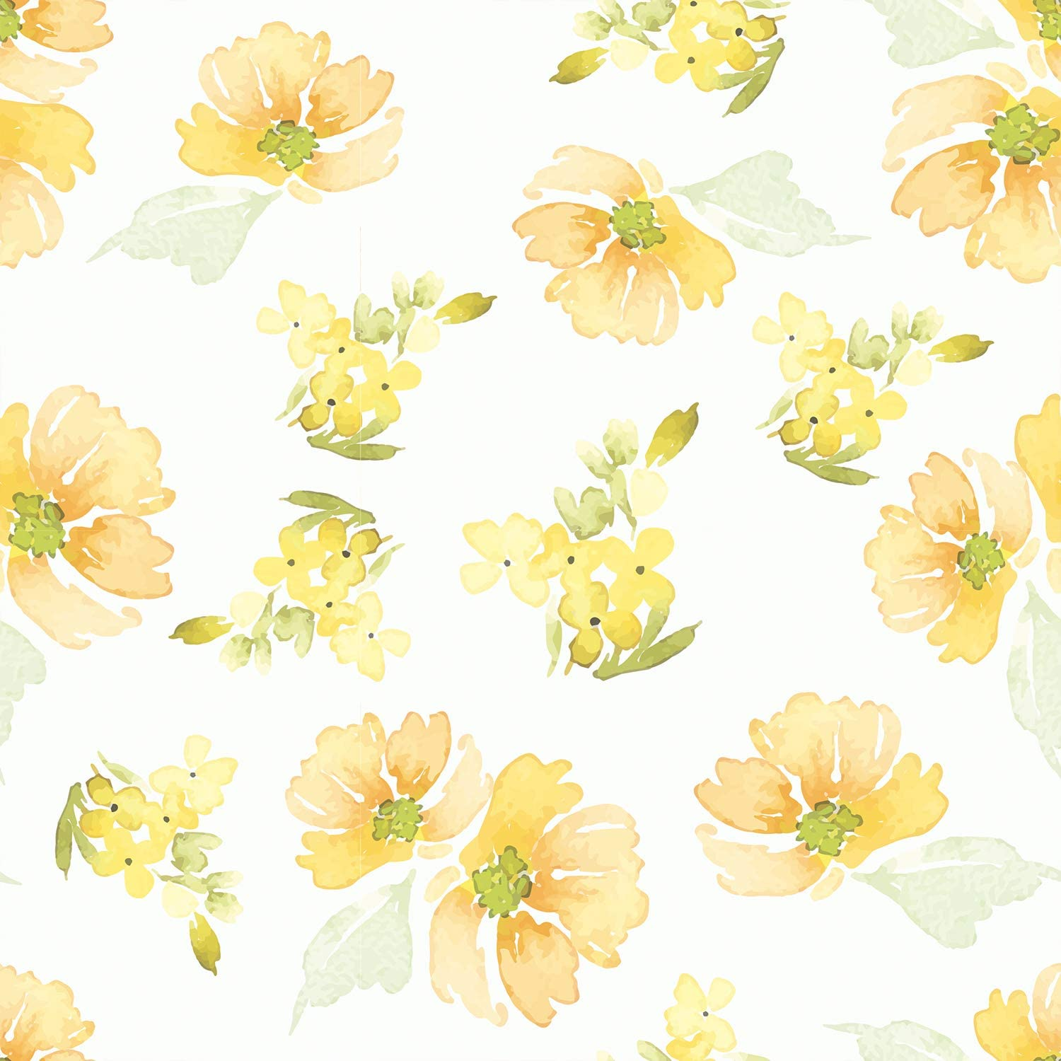 Amazing Wall Summer Yellow Floral Pattern Peel And Stick Self