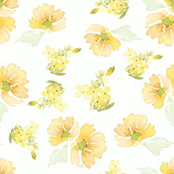 Amazing Wall Summer Yellow Floral Pattern Peel And Stick Self Adhesive Wallpaper 15 7x198inch Amazon Com