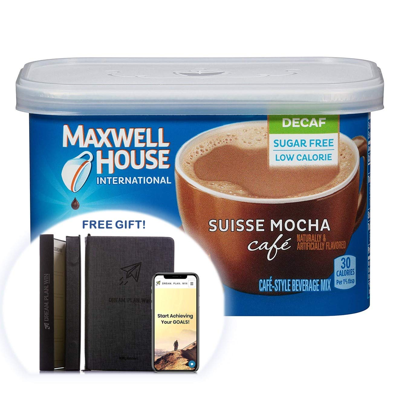 Maxwell House International Sugar-Free Decaf Suisse Mocha Beverage Mix, 4 oz Tub (Pack of 11) + FREE GIFT - PRODUCTIVITY PLANNER - Attain Your Dreams! (11 Count)