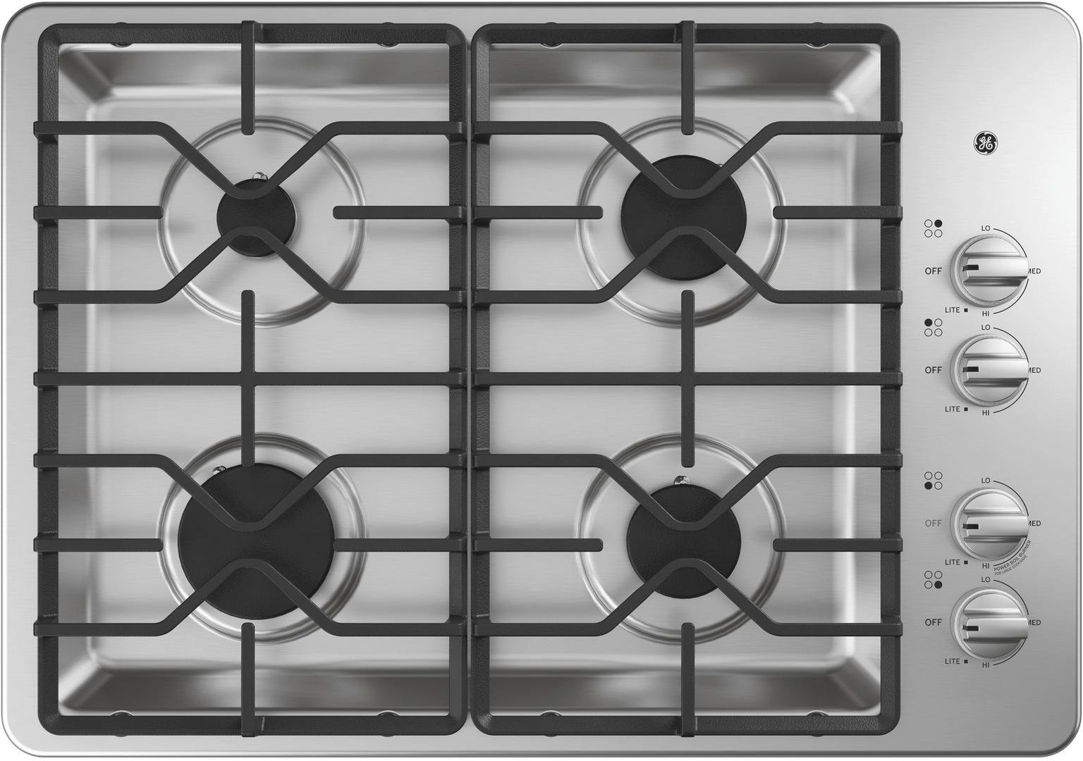 GE JGP3030SLSS 30 Inch Natural Gas Sealed Burner Style Cooktop with 4 Burners, ADA Compliant, in Stainless Steel