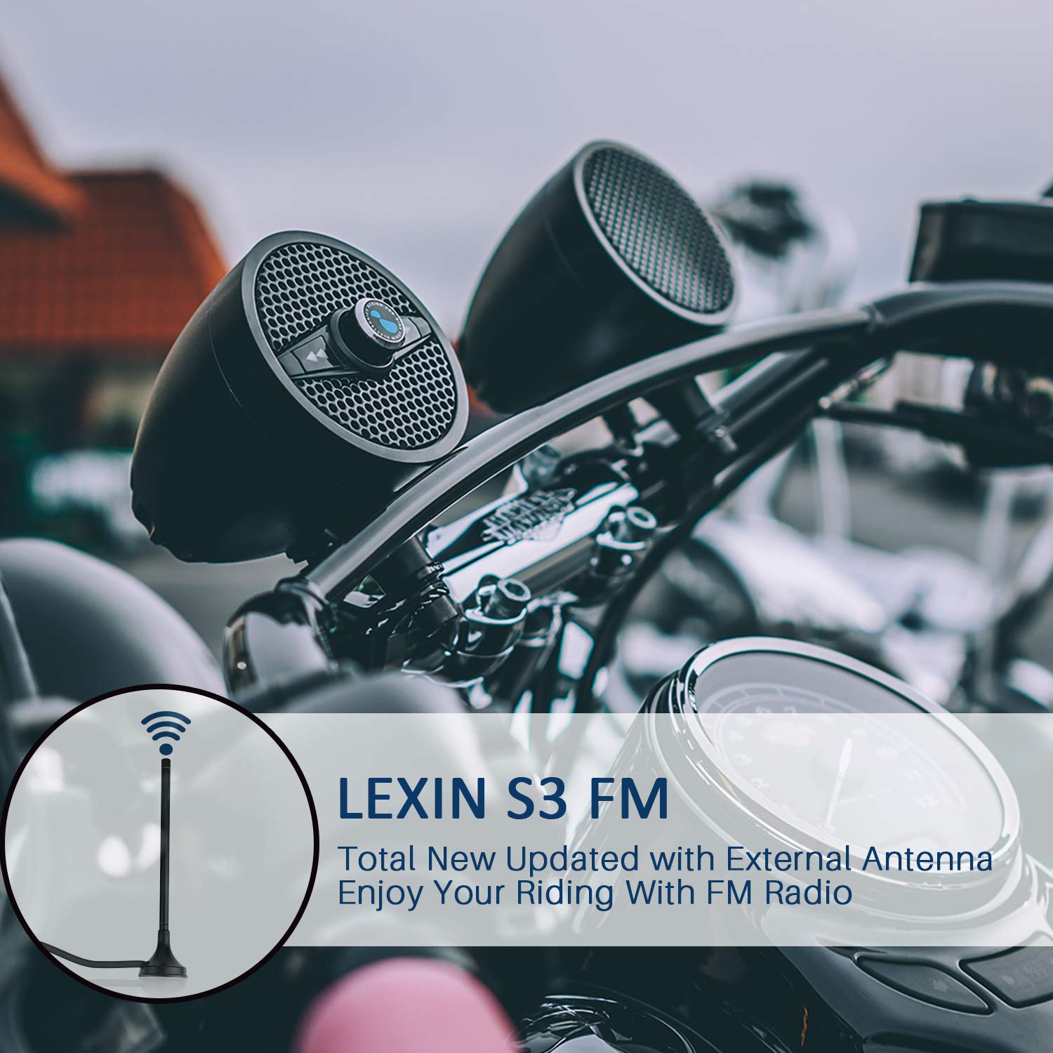 Black 4350351779 Fit 7//8 to 1.25 Handlebar For Harley-Davidson//Yamaha//Indian Scout Motorcycle Audio Systems With USB Port for Charing LEXIN New Metal Motorcycle Bluetooth Speaker With FM Radio