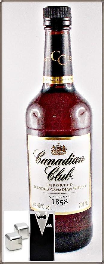 Canadian Club Kanadischer Whisky mit 2 Original Edelstahl Kühlsteine im Smoking, kostenloser Versand