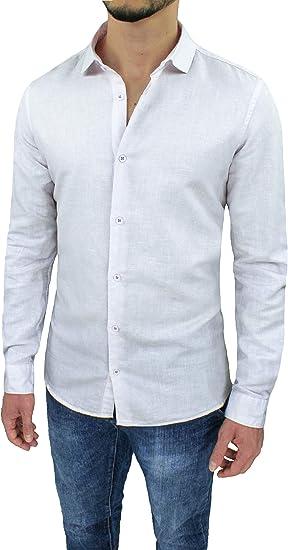 Evoga - Camisa de lino para hombre, estilo casual, primavera, verano: Amazon.es: Ropa y accesorios
