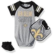 Outerstuff NFL Infant Blitz Onesie, Bib and Bootie Set-Heather Grey-12 Months, New Orleans Saints