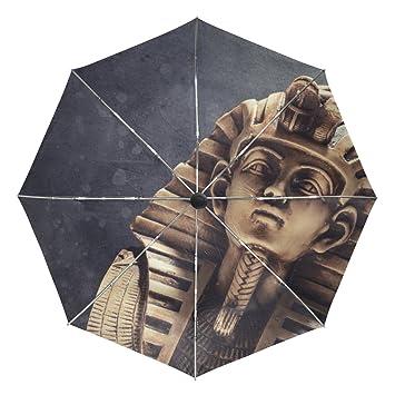 baihuishop piedra Faraón Tutankhamen máscara resistente al viento lluvia paraguas Auto abierto cerca 3 plegable resistente