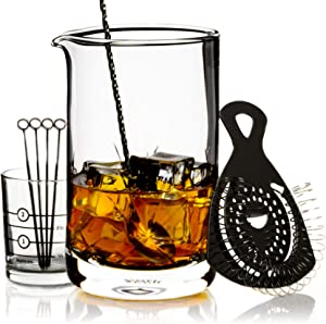Cork & Mill Cocktail Mixing Glass Set - Old Fashioned Kit - 24 oz (700 ml) Crystal Stirring Glass for Bartending - 9-Piece Bar Accessories and Tools Set with Strainer, Spoon, Jigger, Picks (Black)