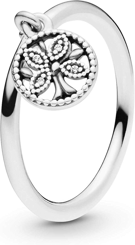 Pandora Jewelry - Anillo colgante de árbol familiar para mujer en plata de ley con circonita cúbica transparente