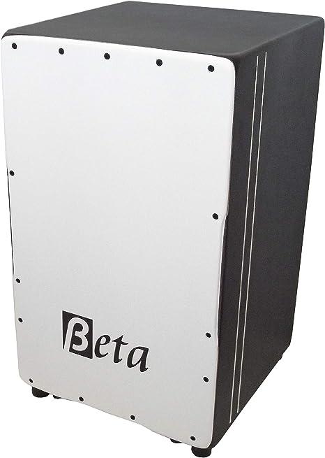 Cajón flamenco Beta Élite (negro y blanco) - Caja flamenca de abedul profesional y afinable: Amazon.es: Instrumentos musicales