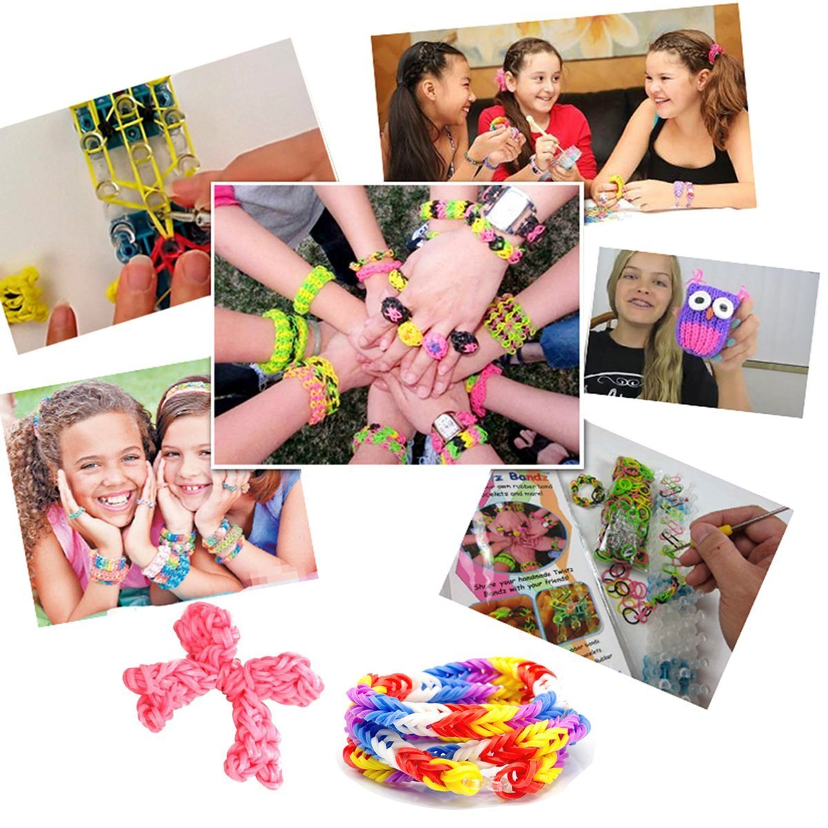 Gift Prod 14000Pcs Colorful Rubber Band Refill Kit for Loom Rainbow Bracelets Dress Making 28 Colors Rainbow Rubber Band for Crafting Gadgets Friendship Bracelet (Style 2)