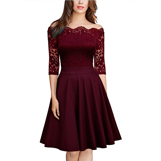 db31472927d68 Weileenice Women Vintage Floral Lace Cocktail Party Dresses 3 4 Sleeve Boat  Neck Formal Swing
