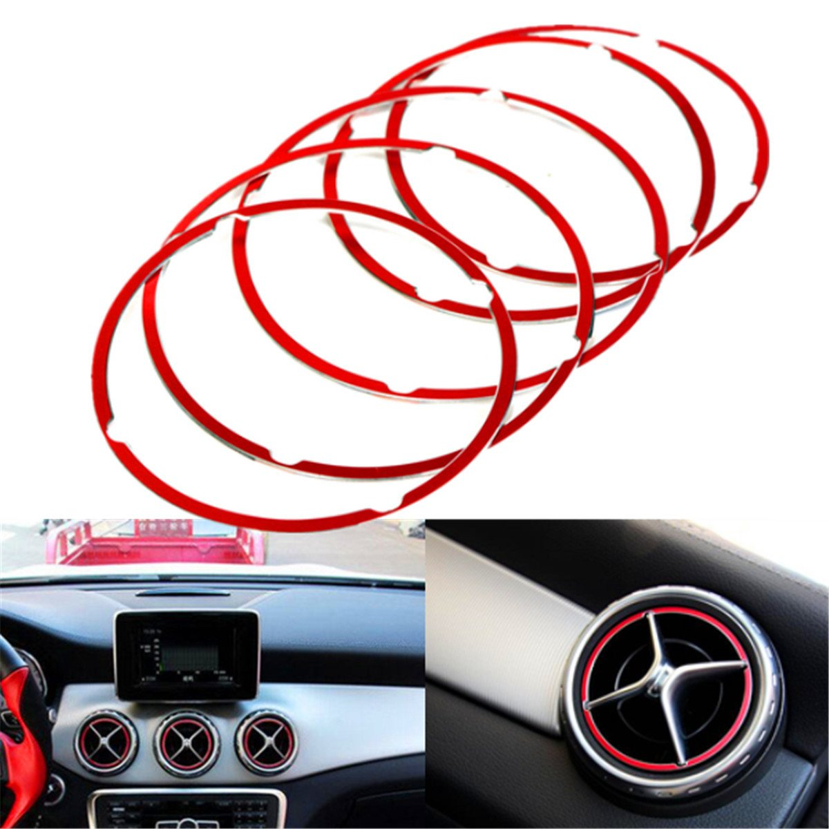 YONGYAO 5Pcs Red Air Vent Outlet Ring Cover For Mercedes Benz Cla Gla180 200 220 260