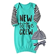 Funny New to The Crew Gown Baby Boy Girl Sleepwear Newborn Coming Home (Blue, 0-3 Months)
