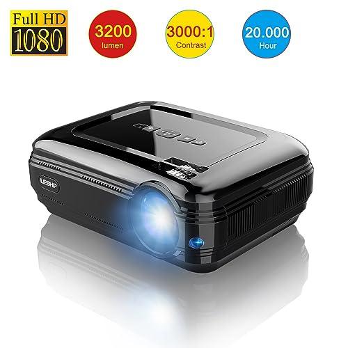 Vidéoprojecteur, LESHP 1080p Full HD Projecteur LCD Retroprojecteur Portable Home Cinéma 3200 Lumens Soutien HDMI/VGA/USB/AV/TV/YPbPr