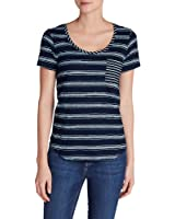 Eddie Bauer Women's Gypsum Pocket T-Shirt - Wide Stripe