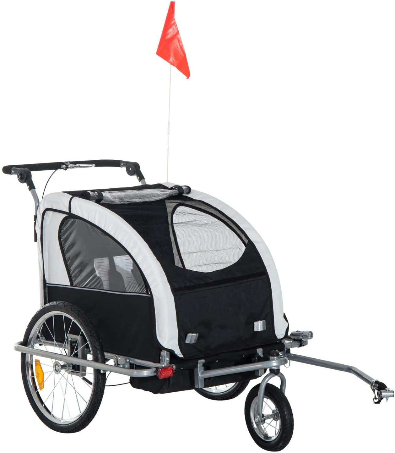 HOMCOM 2 in 1 Multifunctional Bicycle Child Carrier Baby Trailer Stroller Jogger Kit in Steel Frame