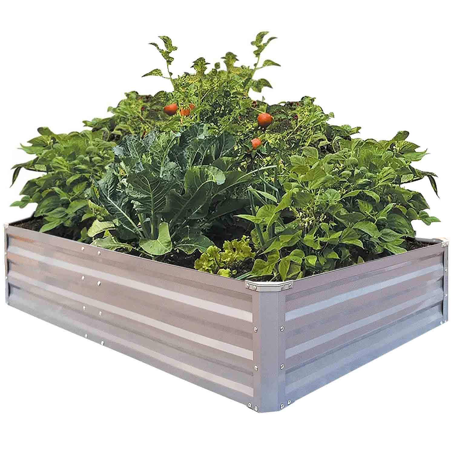 FOYUEE Galvanized Raised Garden Beds for Vegetables Metal Planter Boxes Outdoor Large Patio Bed Kit Planting Herb