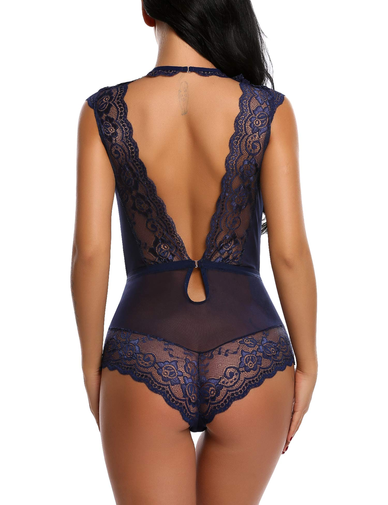 Avidlove Women Sexy Babydoll Lingerie Lace Outfit Teddy(Dark Blue,M)