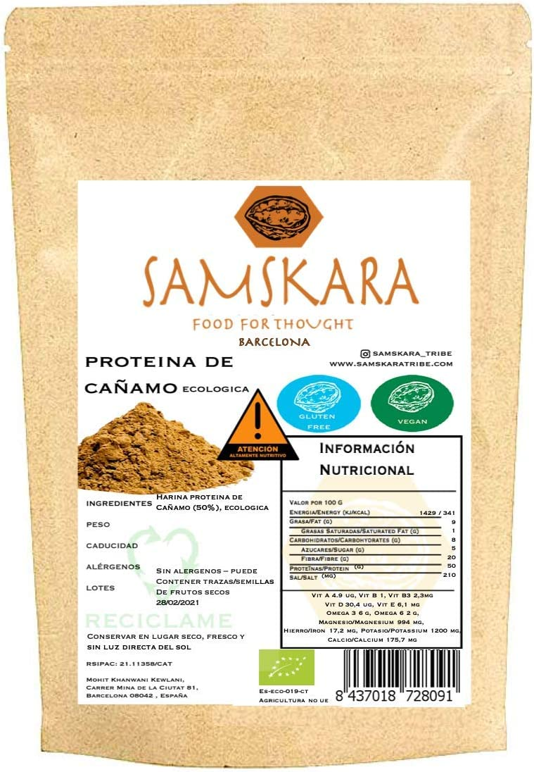 Proteina de Cañamo (50%) en Polvo Organico/Ecologico Bio SAMSKARA SUPERFOODS Organic/Ecological Bio Hemp Protein Powder (50%) (1kg)