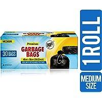 JOFF Premium Garbage Bags - Medium (48cmx56cm, 1 Roll, 30 Bags, Black)