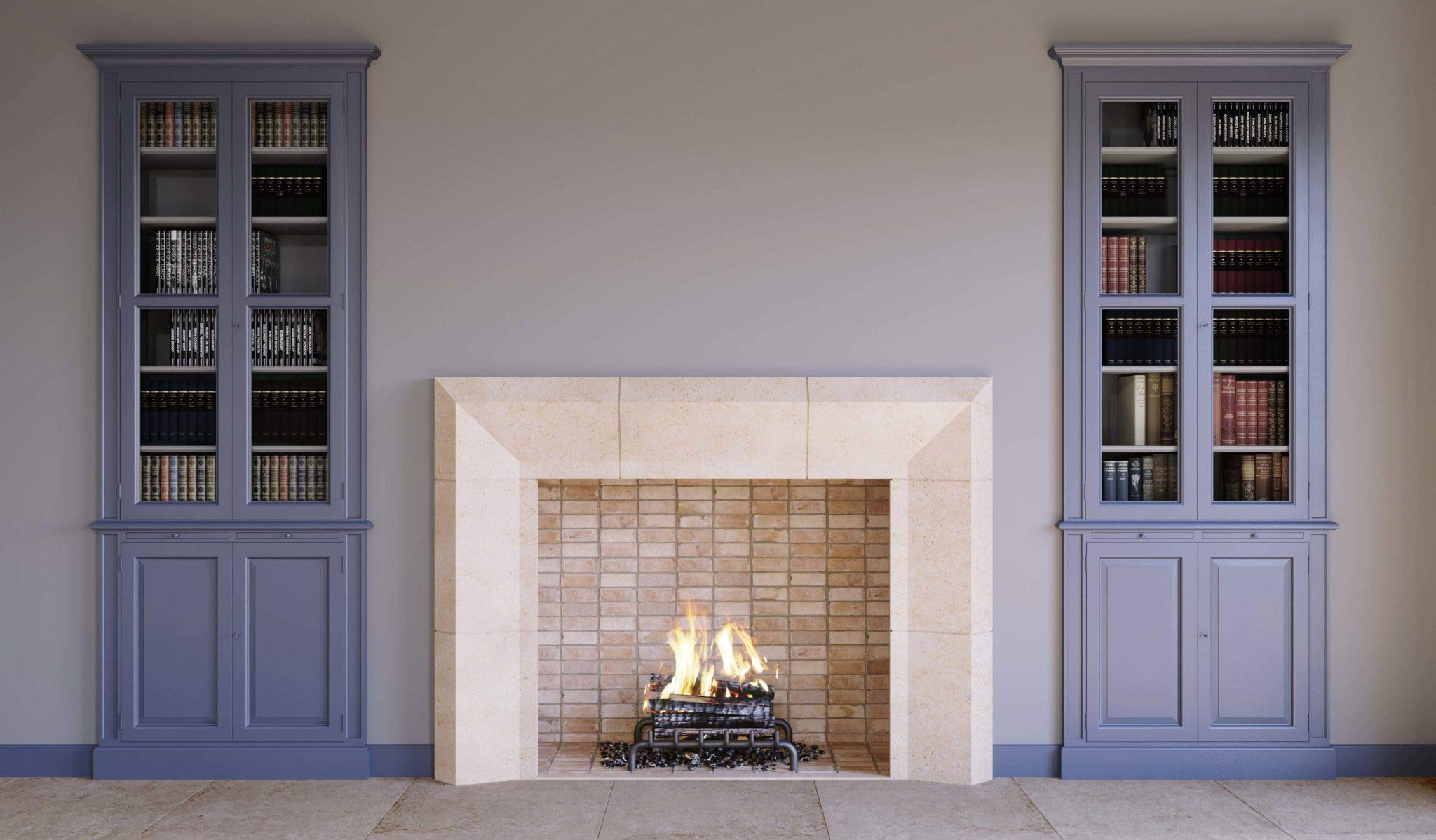 Cantone Modern Real Stone Fireplace Mantel and Surround 42 Inches x 36 Inches Wood Burning Fireplace Cream Limestone by Custom Fireplaces