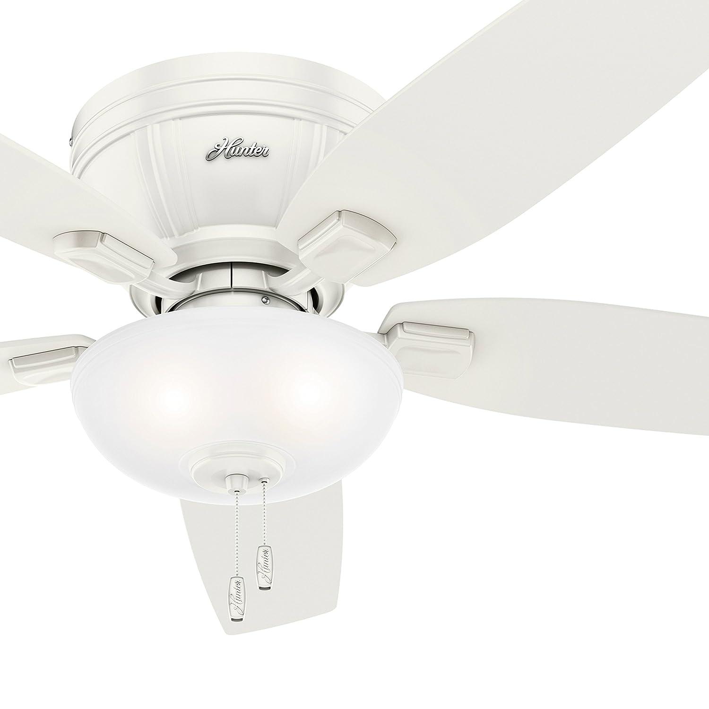 Hunter Fan 52 inch Low Profile Fresh White Ceiling Fan with LED Bowl Light Kit Renewed