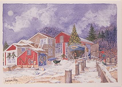 nightfall at the boatworks boxed nautical christmas cards by - Nautical Christmas Cards