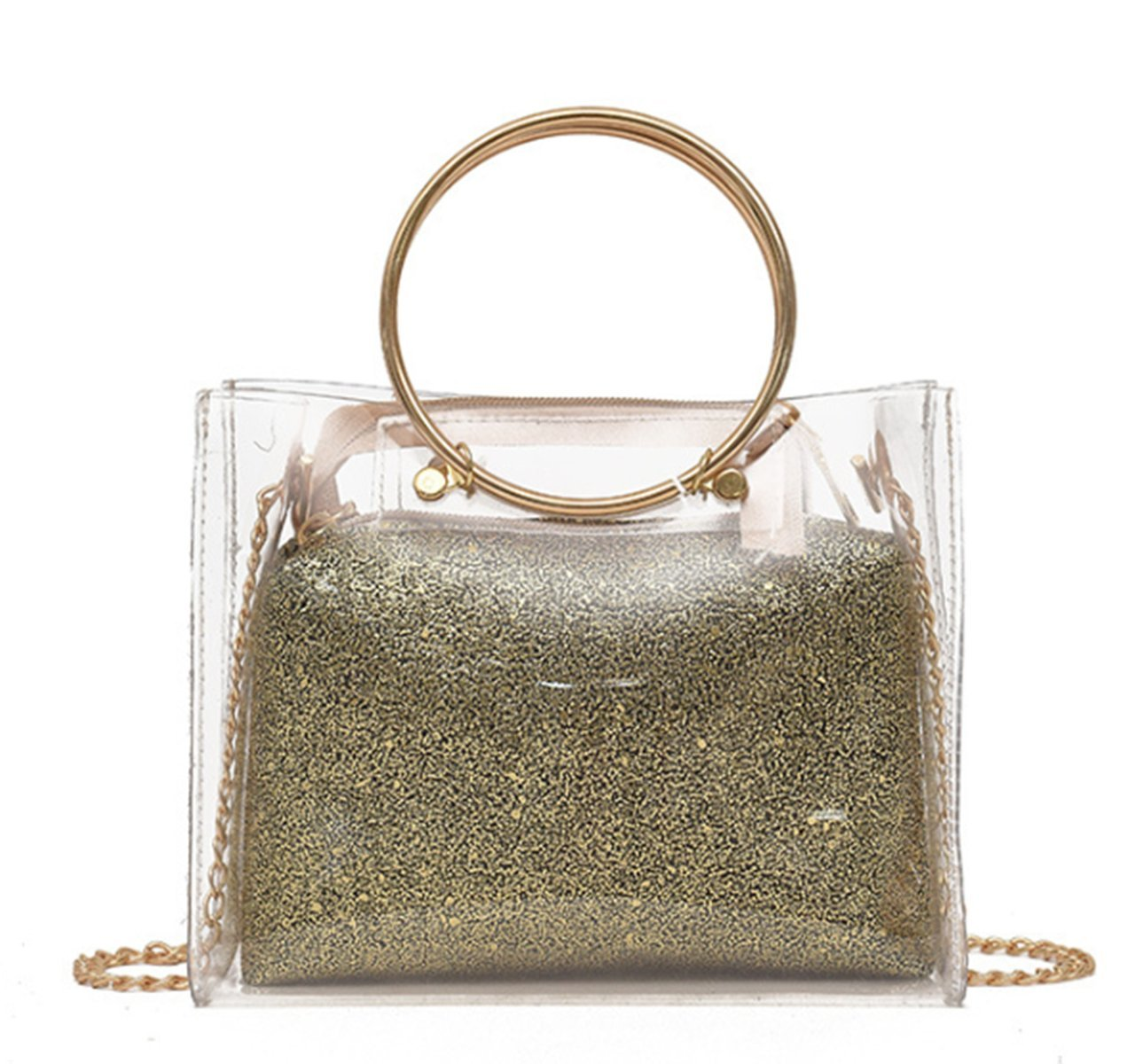 Women's Clear Transparent Metallic Strap Shoulder Crossbody Handbag Clutch with Inner Cosmetic Bag (Gold)