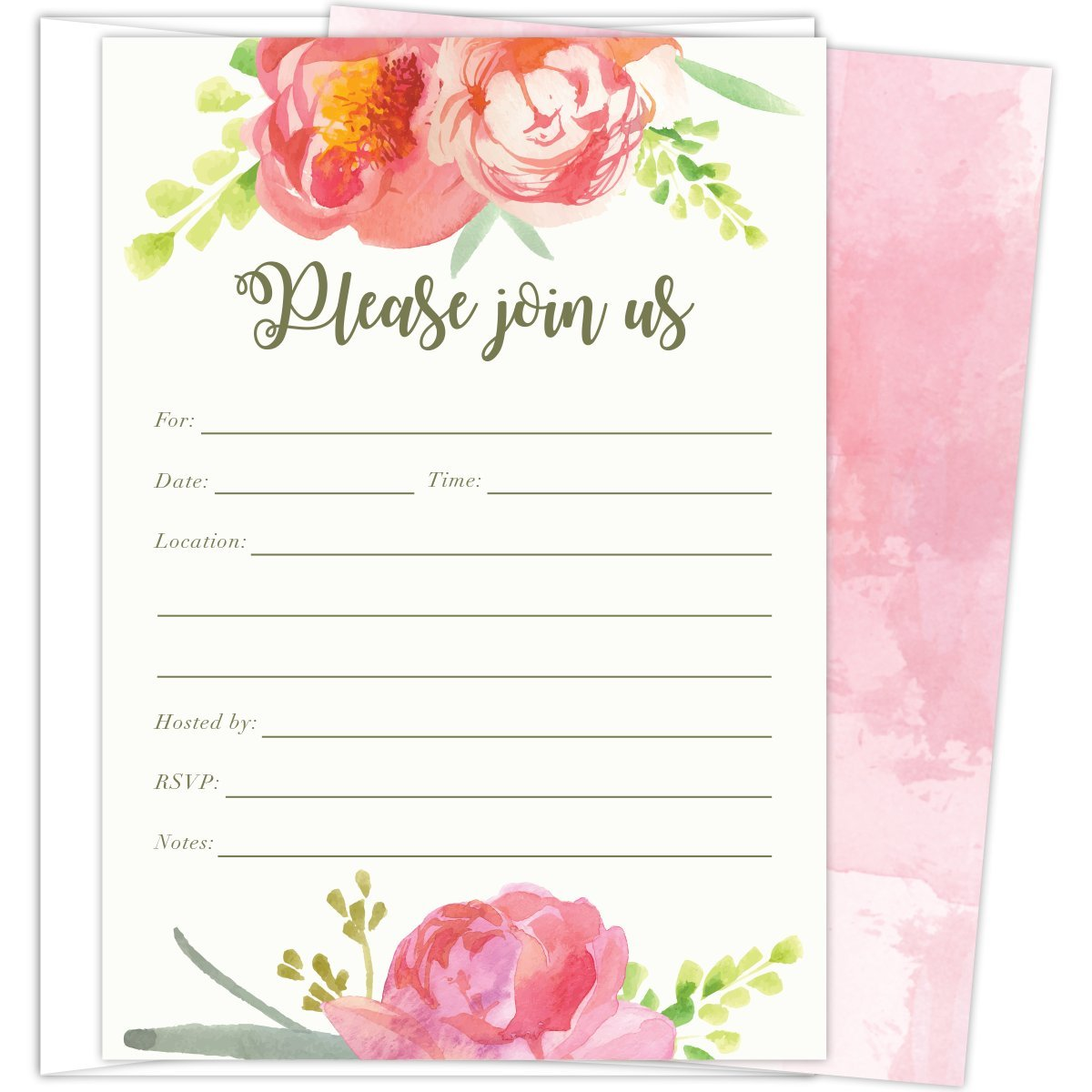 Pink Vintage Floral Set of 25 Fill-in Invitations and Envelopes for Soirees, Bridal Showers, Baby Showers, Birthdays, Graduations, Dinner Parties, Rehearsal Dinners and Bachelorette Parties. by Koko Paper Co