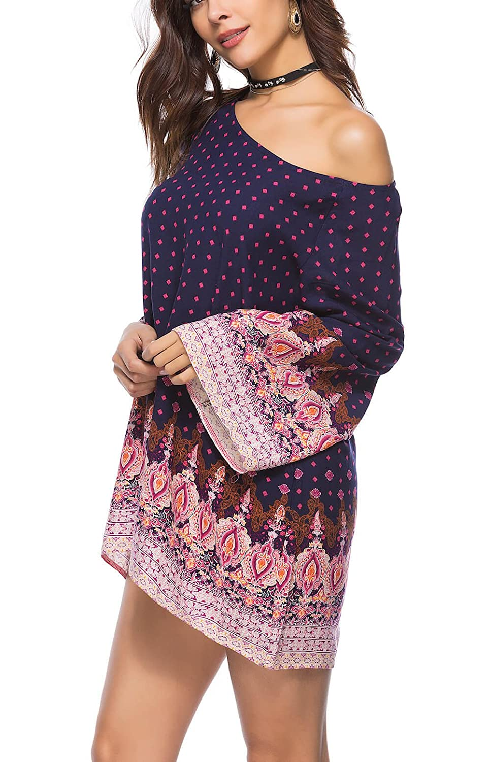 Navy   Pink Holagift Women's Bohemian Vintage Printed Ethnic Style Loose Casual Long Sleeves Tunic Dress