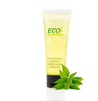 bdba691636fb ECO AMENITIES Travel size 1.1oz hotel shampoo and conditioner in bulk,  Clear, Green Tea, 200 Count