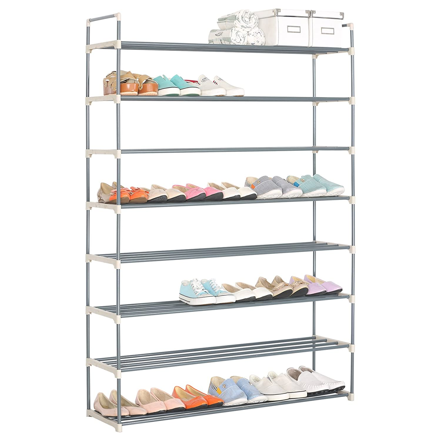 Amazon.com: WOLTU Big Shoes Racks Organizer 8 Tiers Holds 48 Pairs Shoes  Storage Utility Tower Stackable Shelves Grey: Home U0026 Kitchen