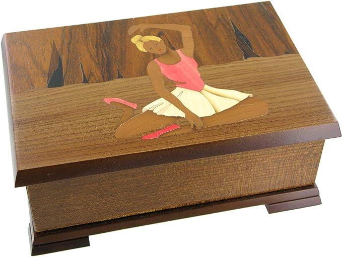 Caja de música para joyas / joyero musical de madera con bailarina y marquetería bailarina - El vals del emperador (J. Strauss): Amazon.es: Hogar