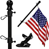 """COCOHOME 5FT Flag Pole Kit - 1"""" Tangle-Free Flagpole with Bracket and 3x5 Embroidered American Flag, Outdoor Spinning House W"""