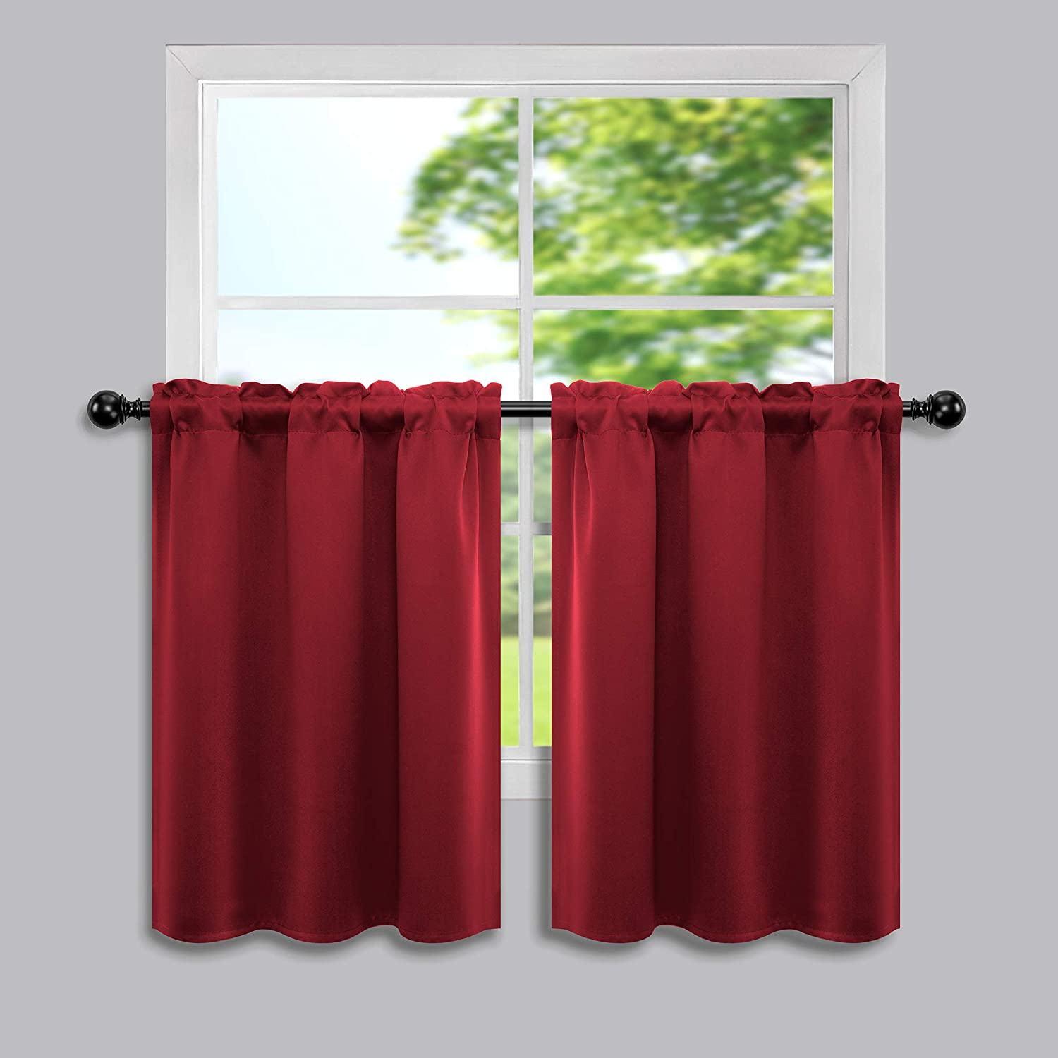 Red Curtains 30 Inch Length for Kitchen Windows Set of 2 Pack Blackout Room Darkening Short Curtains for Bedroom Bathroom 34x30 Long