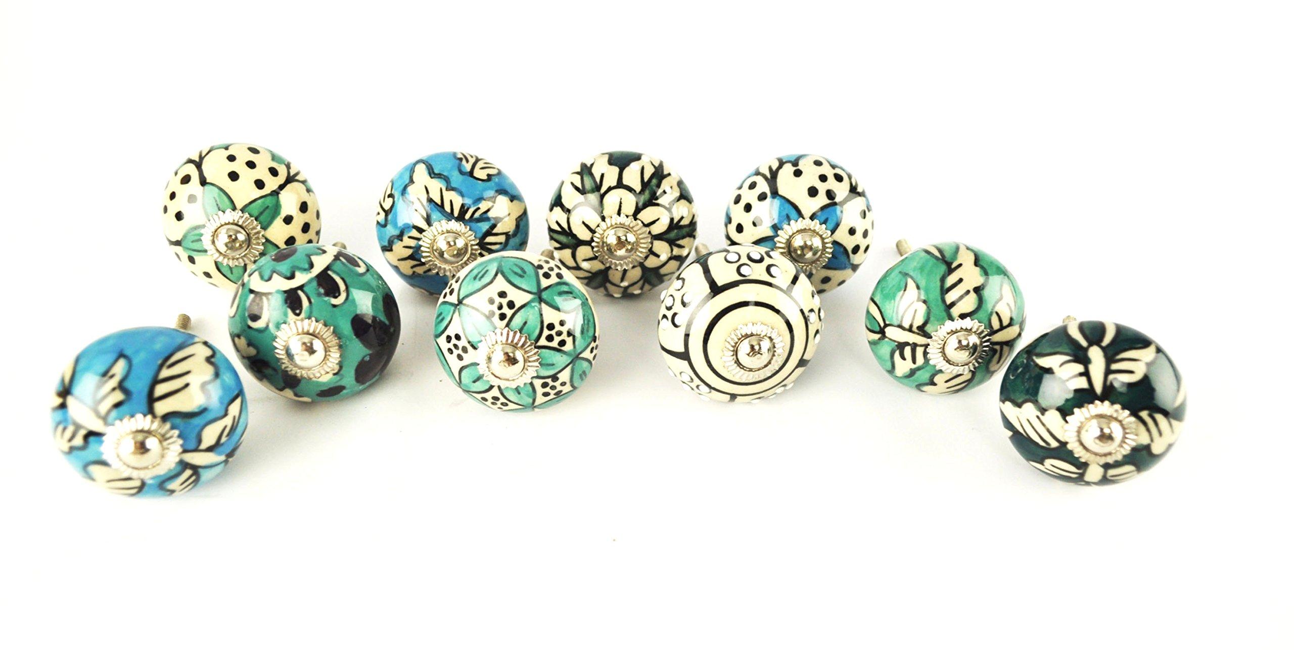 Set Of 10 Ceramic Cabinet Knobs, Blue Floral Cupboard Drawer Door Pulls  Design