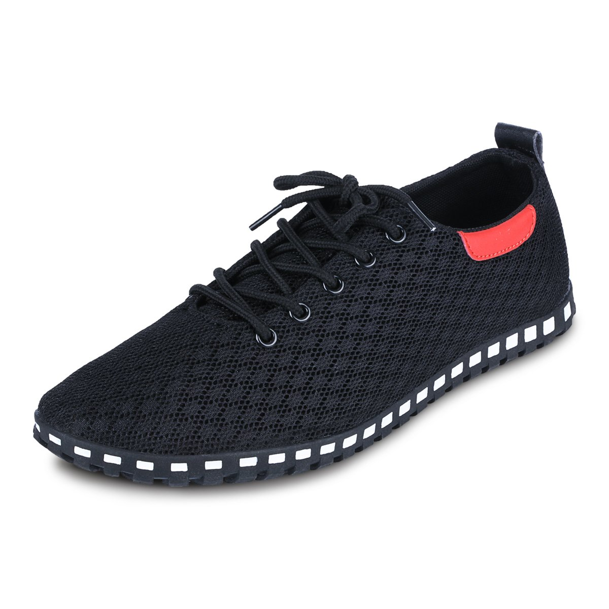 EASTIANO Men's Casual Breathable Mesh Fabric Shoes (11, Black)
