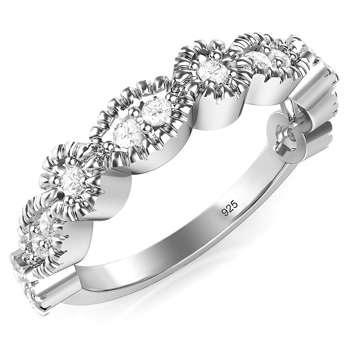 Sz 6 Sterling Silver CZ Stackable Anniversary Cubic Zirconia Band Ring