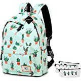 School Bookbag for Girls, Cute Water Resistant Laptop Backpack College Bags (Water Blue-Cactus 2)